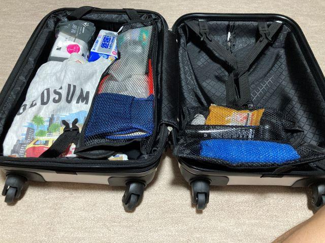 Sサイズのスーツケースの荷物